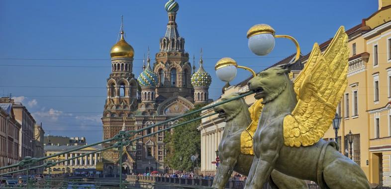 Cathédrale Saint Sauveur sur le Sang Versé depuis le pont Bankovsky